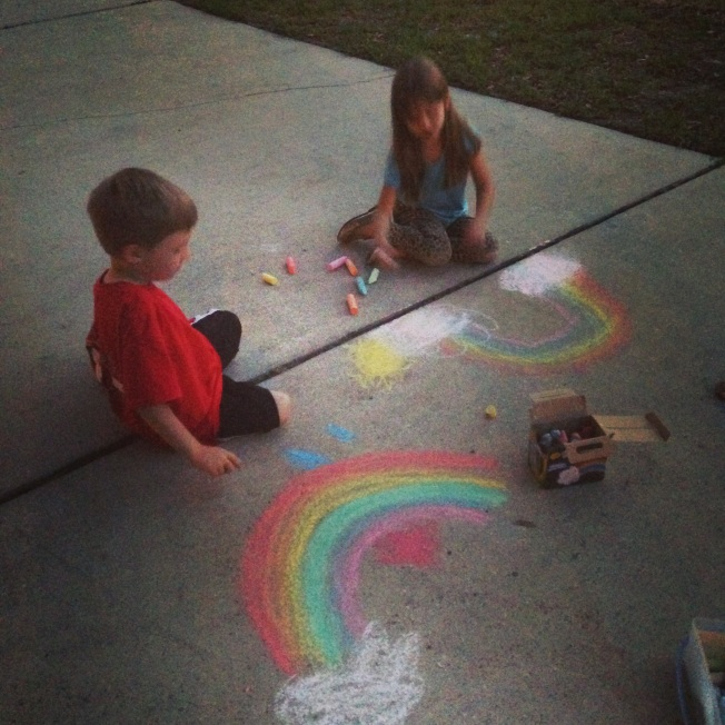 Lo and Damian making rainbows